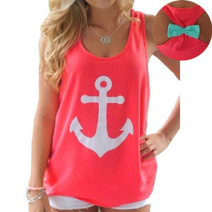 Anchor Print Bow in Back Tank Top Cami